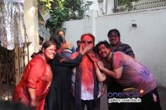 Bappi Lahiri with is family celebrates Holi 2014