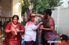 Bappi Lahiri with wife and son celebrates Holi 2014