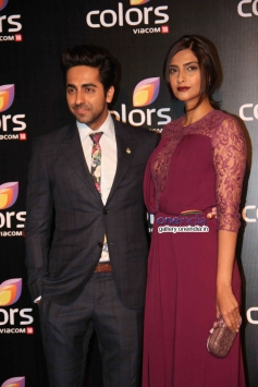 Ayushmann Khurrana and Sonam Kapoor at Colors channel party 2014