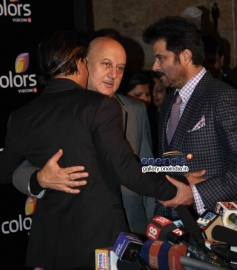 Shahrukh Khan, Anupam Kher and Anil Kapoor at Colors channel party 2014