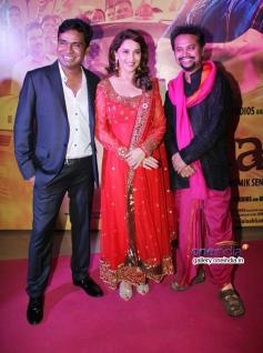 Mustaq Sheikh, Madhuri Dixit and Soumik Sen at Gulaab Gang film screening