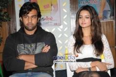 Chiranjeevi Sarja, Shanvi Srivastava at Chandralekha Movie Success Meet