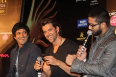 Farhan Akhtar, Hrithik Roshan and Shahid Kapoor at IIFA 2014 Press Conference