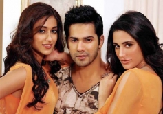 Ileana D'Cruz, Varun Dhawan and Nargis Fakhri still from film Main Tera Hero