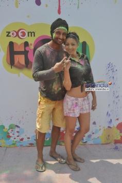 Indraneil Sengupta with wife at Zoom Holi Party 2014
