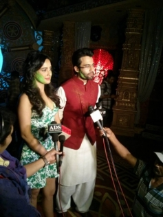 Jackky Bhagnani and Neha Sharma during the promotion of film Youngistaan SAB Tv Ki Filmy Holi