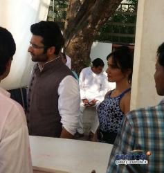 Jackky Bhagnani and Neha Sharma on the sets of Sony tv serial Nandini