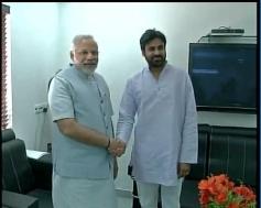 Jana Sena founder Pawan Kalyan with Narendra Modi