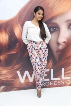 Janani Iyer poses at Essensuals Salon launch