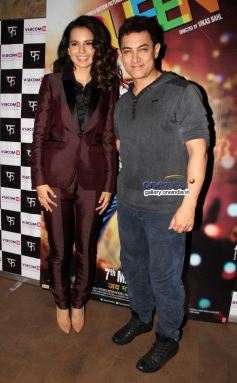 Kangna Ranaut and Aamir Khan during the Queen film special screening