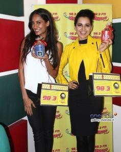 Kangna Ranaut and Lisa Haydon during the Queen promotion at Radio Mirchi Mumbai