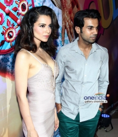 Kangna Ranaut with Rajkummar Rao at Queen film success bash