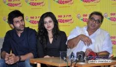 Kartik Aryan, Mishti and Subhash Ghai at Kaanchi film press meet on Radio Mirchi