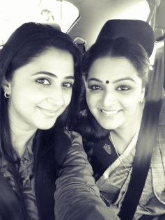 Manju Warrier with Kaniha on the sets of How Old Are You