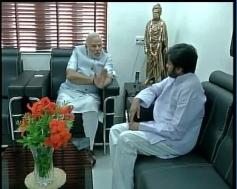 Narendra Modi interacts with Jana Sena founder Pawan Kalyan