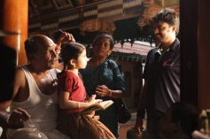 Nassar, Sara Arjun and AL Vijay on the sets of Saivam