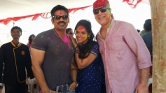 Neetu Chandra celebrates Holi 2014 with Sunil Shetty
