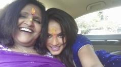 Neetu Chandra with mom on Holi 2014 celebration