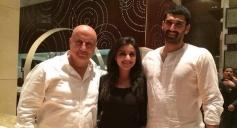 Anupam Kher, Parineeti Chopra and Aditya Roy Kapur on the sets of film Daawat E Ishq