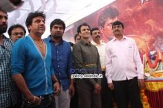Shivrajkumar, Pavan Wadeyar, Raghavendra Rajkumar at Rana Vikrama Movie Opening