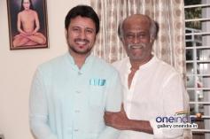 Rajinikanth blesses Telugu actor Raja at his place