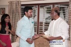 Rajinikanth meets Telugu actor Raja at his place