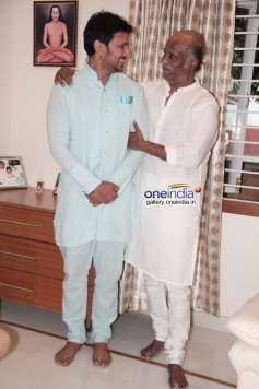 Rajinikanth met by Telugu actor Raja at his place
