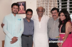 Rajinikanth with actor Raja and his fiancee Amrita at his place