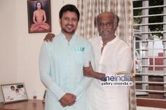 Rajinikanth with Telugu actor Raja at his place