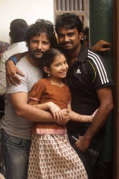 Sara Arjun with AL Vijay on the sets of Saivam