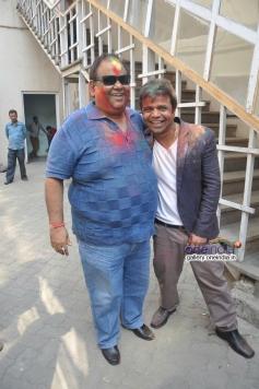 Satish Kaushik with Rajpal Yadav celebrates Holi at Mehboob Studio