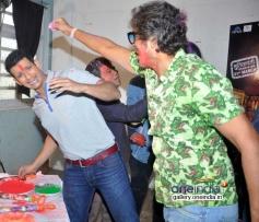 Sharman Joshi with Chunky Pandey celebrates Holi at Mehboob Studio