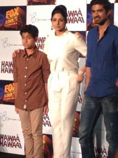 Sridevi Kapoor with Partho Gupte and Saqib Saleem at Hawaa Hawaai film trailer launch