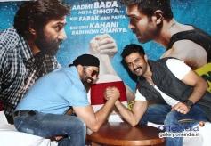 Sunny Deol and Harman Baweja arm wrestling at media interaction of film Dishkiyaoon