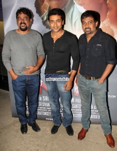 Suriya with Santosh Sivan and Lingusamy at Inam film special screening