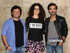 Vikas Bhal, Kangna Ranaut and Raj Kumar Yadav at Queen film screening