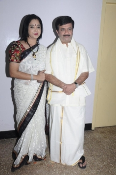 Y Gee Mahendra with Aishwarya at his 60th Stage Show of Irandam Ragasiyam