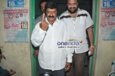 Actor Balakrishna with his family vote for Lok Sabha Election 2014