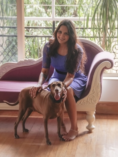 Ahana Deol poses with her pet dog