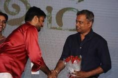 AL Vijay with Gautham Menon at Saivam audio launch