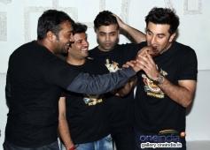 Anurag Kashyap, Vikas Bahl, Karan Johar and Ranbir Kapoor at Bombay Velvet wrap up party