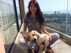 Anushka Sharma poses with her pet Dog