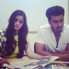 Arjun Kapoor & Alia Bhatt during the promotion of 2 States in Kolkata