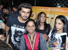 Arjun Kapoor poses with a women at PVR Andheri