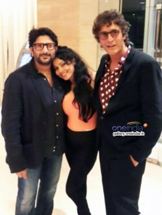 Arshad Warsi, Nikita Rawal and Chunky Pandey during a photoshoot for film Roti Kapda and Romance