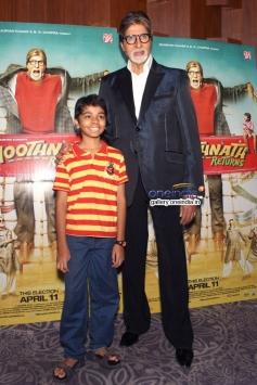 Amitabh Bachchan and Parth Bhalerao at Bhoothnath Returns promotion in New Delhi