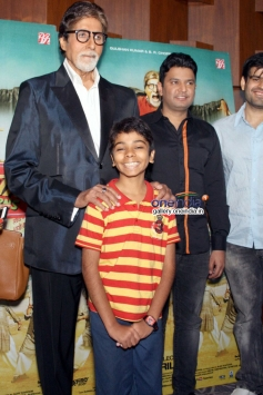 Big B with Parth Bhalerao and Bhushan Kumar at Bhoothnath Returns promotion in New Delhi
