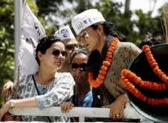 Gul Panag during her election campaign in Chandigarh