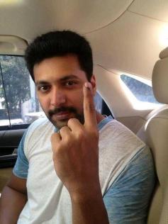 Jayam Ravi casted his vote
