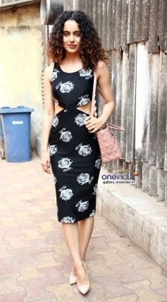 Kangna Ranaut poses during the Revolver Rani promotion at Filmalaya Studios